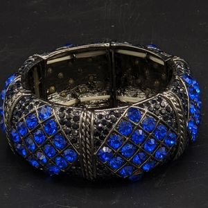 Blue Rhinestone Statement Bracelet Blingy Stretch
